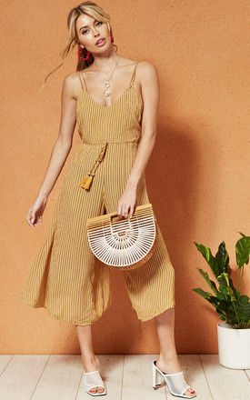 PARIS Strappy Culotte tassel front JUMPSUIT in yellow stripe by Band Of Gypsies