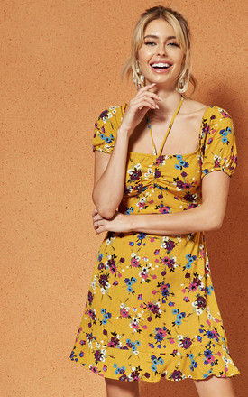 MELBOURNE RUCHE front Mini DRESS in yellow floral by Band Of Gypsies