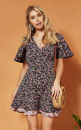 NAPLES Skater Dress in Black floral by Band Of Gypsies