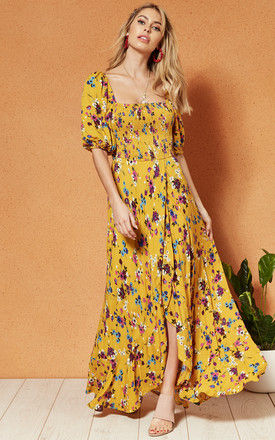 MADRID Scoop neck SMOCKED MAXI DRESS in yellow floral by Band Of Gypsies