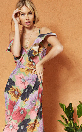 LONDON cold shoulder wrap maxi DRESS in lilac floral by Band Of Gypsies