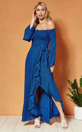 BALI off the shoulder wrap front MAXI DRESS in royal blue small vine print by Band Of Gypsies