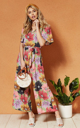 LIMA V Neck tie waist JUMPSUIT in lilac floral by Band Of Gypsies