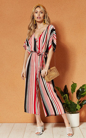 CAPETOWN wrap front tie waist JUMPSUIT in Stripe by Band Of Gypsies