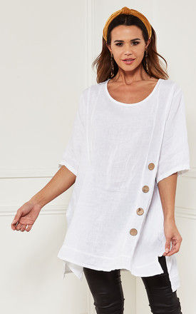 Oversized Linen Top with button detail in White by Bella and Blue
