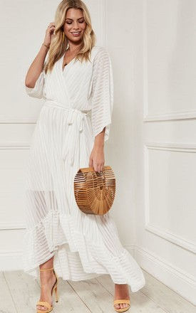 Snow White Plunge Maxi Dress by Bella and Blue