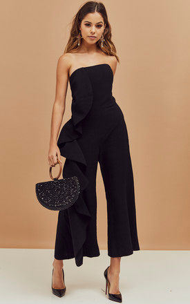 Carissa Strapless Frill Detail Jumpsuit in Black by Bardot