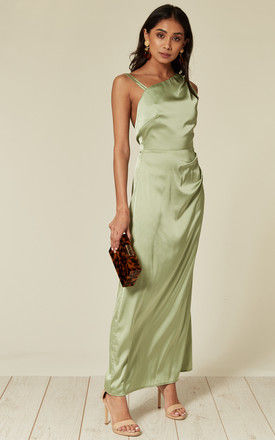 Satin maxi dress with asymmetric neckline in mint green by D.Anna