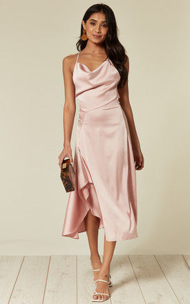 Satin cowl neck midi dress with frill split and tie back in Pink by D.Anna