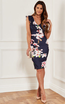 Bodycon Midi Dress with frill neckline in navy floral by Luna