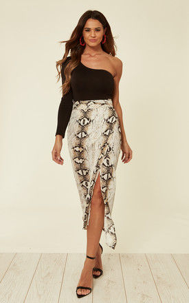Snake skin printed midi wrap skirt with belt fastening by D.Anna