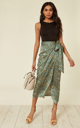 Satin Mint Green and Yellow Leopard Print Midi Wrap Skirt by D.Anna