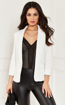 White Tailored Blazer by Bella and Blue