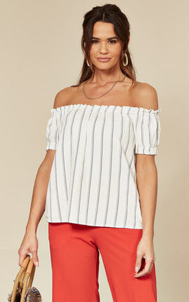 Off The Shoulder Top in white stripe by VM