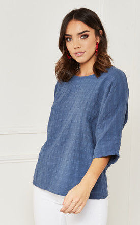 Cotton Oversized Textured Top in blue by Bella and Blue