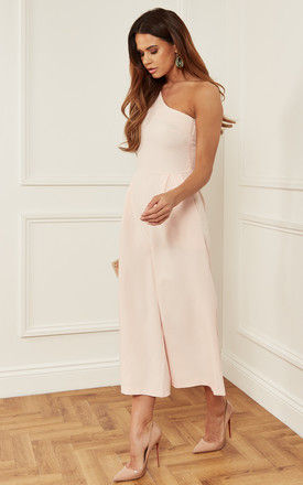 Blush One Shoulder Jumpsuit with Bow Detail by Luna