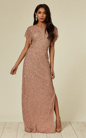 Embellished Nude Pink Maxi Dress by ANGELEYE