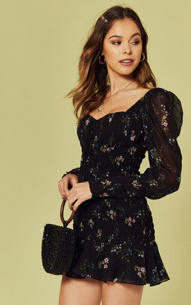 Dixon Mini Dress in black floral by For Love And Lemons