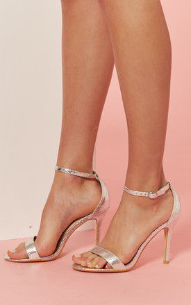 Silver Barely There Heeled Sandal by Glamorous