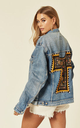 Relaxed Fit Distressed Denim Jacket with Embroidery by Denim Stories