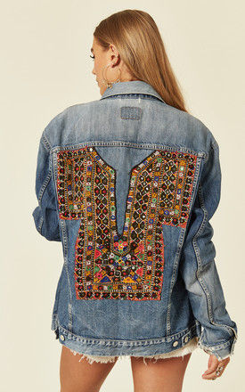 Relaxed Fit Mid Wash Denim Jacket with Embroidery by Denim Stories