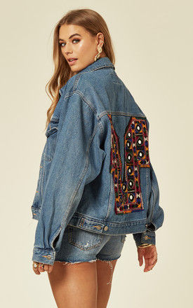 Relaxed Fit Denim Jacket with Embroidered and Embellished Back by Denim Stories