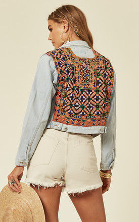 Cropped Light Wash Denim Jacket with Embroidery and Mirror Embellishments by Denim Stories