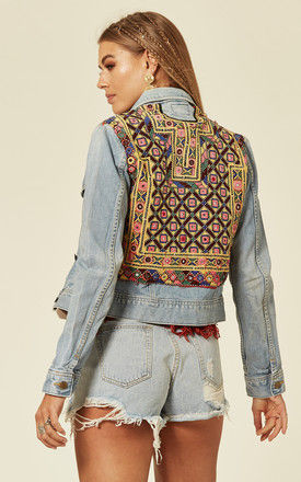 Light Wash Cropped Denim Jacket with Embroidery by Denim Stories