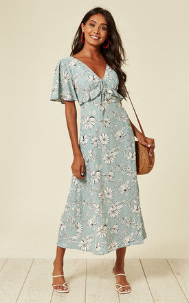 V-neck maxi dress with frill detail in sky blue and white floral print by D.Anna