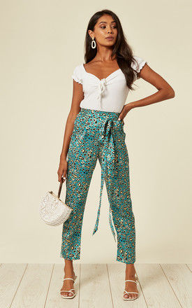 Slit-fit Satin leopard print pencil trousers with pockets in green by D.Anna