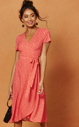 Penelope Wrap Midi Dress in Red Ditsy Print by Charlie Holiday
