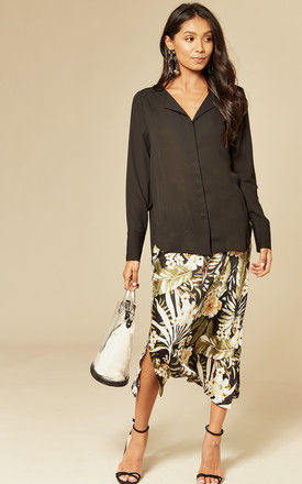 Dynella Collarless Shirt in Black by Selected Femme