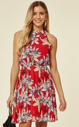 Halter Neck Chiffon Tea Dress in Red Tropical Floral Print by TENKI LONDON