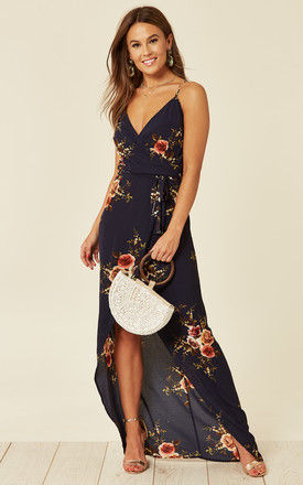 Exclusive Mia Navy Floral Wrap Dress by Girl In Mind