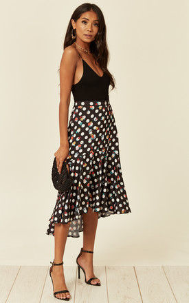 Satin high low midi skirt in Polka dot and floral print by D.Anna