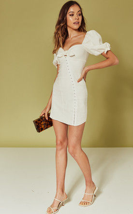MACAROON HOOK FRONT MINI DRESS IN WHITE by For Love And Lemons