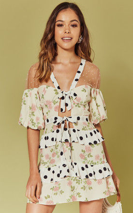 BUTTERSCOTCH TIERED MINI DRESS IN FLORAL POLKA PRINT by For Love And Lemons