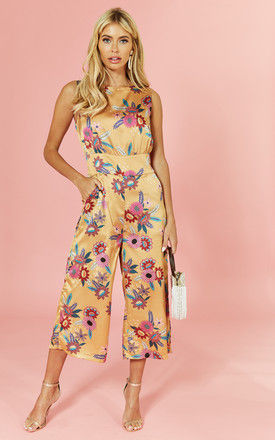 Floral Printed Shell Top Culotte Jumpsuit by Glamorous