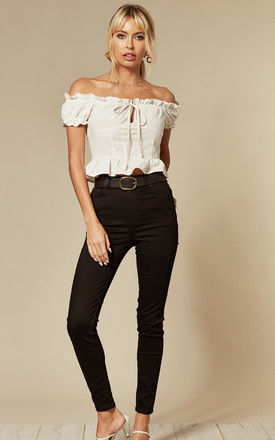 High Waisted Ankle Length Slim Fit Jeans in Black by Pieces