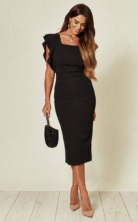 Jayne Black Frill Sleeve Midi Dress with Square Neck by WalG