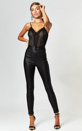 Super High Waisted Coated Trouser in Black by Noisy May