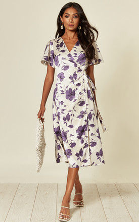 Midi Wrap Dress in Purple and White Floral Print by D.Anna