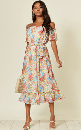 off shoulder midi dress with frill in bold floral print by D.Anna