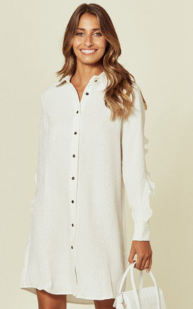 White Mini Shirt Dress with Frill on the Sleeves by DIVINE GRACE