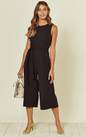 Culotte Round Neck Jumpsuit in Black by Marc Angelo