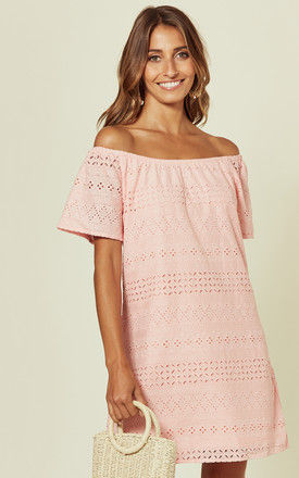 PINK BARDOT EMBROIDERED DRESS by Oeuvre