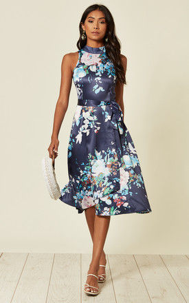 High neck sleeveless midi dress in navy floral by D.Anna