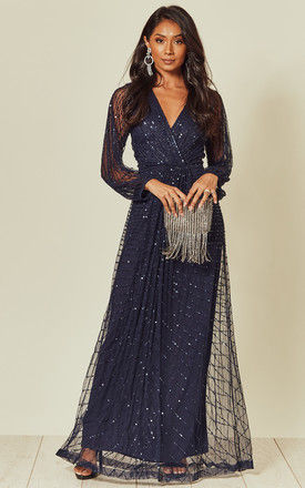 Navy Sequin Embellished Long Sleeve Maxi Dress by ANGELEYE