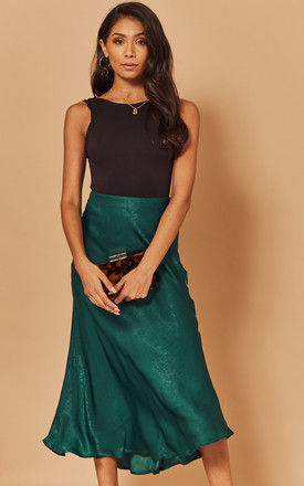 Midi Slip Skirt in Teal by Foreva Young