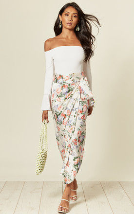 Maxi wrap skirt with tie in cream floral print by D.Anna